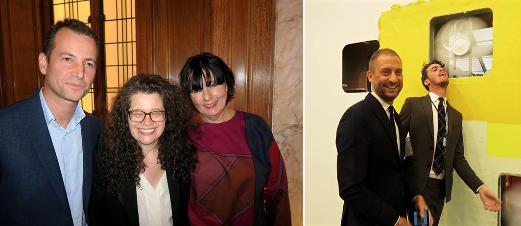 Left: Frieze cofounders Matthew Slotover and Amanda Sharp with Frieze editor Jennifer Higgie. Right: MoMA curator Stuart Comer and dealer Thor Shannon.