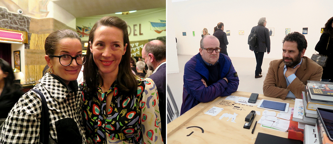 Left: Dealer Lucy Chadwich and Frieze Art Fair director Victoria Siddall. Right: White Columns director Matthew Higgs and dealer Gavin Brown.