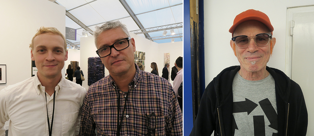 Left: Dealers Peter Currie and Daniel Buchholz. Right: Artist Charles Atlas.