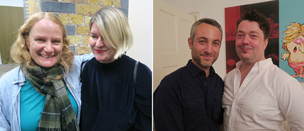 Left: Artist Charlotte Prodger with Glasgow International director Sarah McCrory. Right: Artist Pablo Bronstein and Studio Voltaire director Joe Scotland.