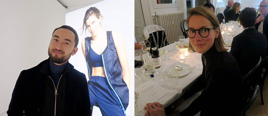 "Left: Artist Simon Fujiwara at The Photographer's Gallery with an image from ""Joanne,"" his rebranding campaign to restore the reputation of an art teacher victimized by tabloid scandal. Right: Artist Magali Reus."