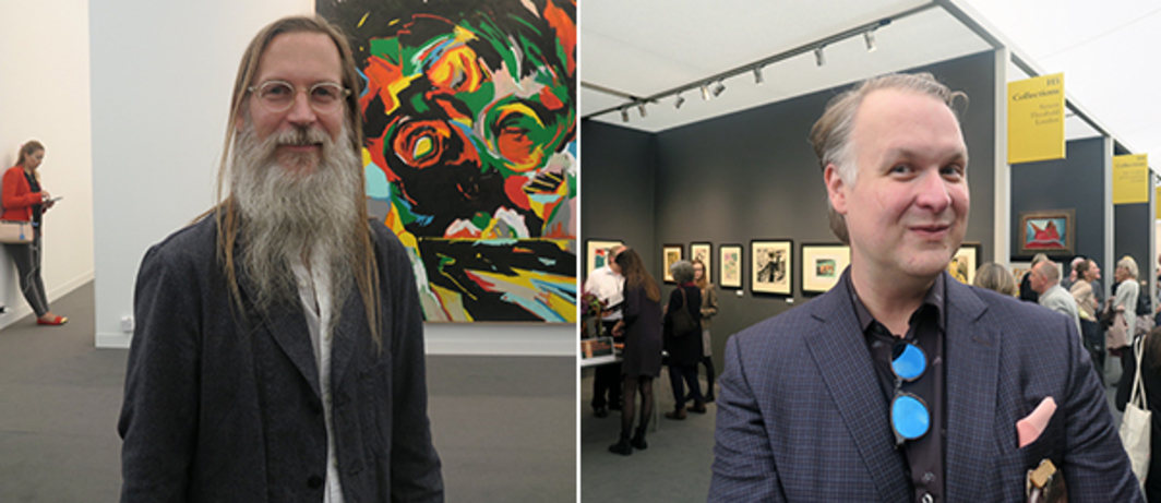 Left: Jeff Koons studio chief Gary McCraw. Right: Sotheby's contemporary art specialist Eric Shiner.