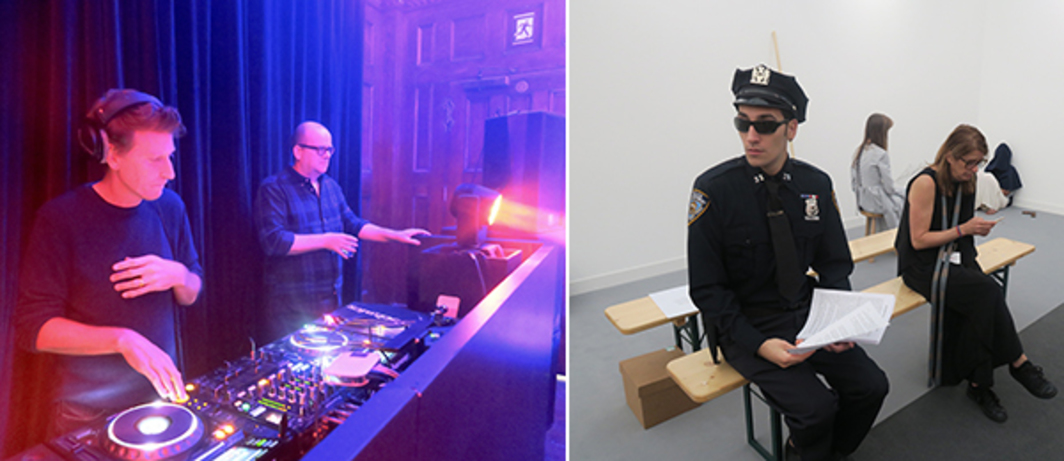 Left: Musician Andrew Hale and White Columns director Matthew Higgs on the decks for Sadie Coles's party for Helen Marten. Right: Pierre Joseph, Characters to be Reactivated, Air de Paris.