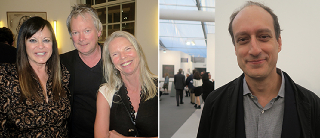 Left: Producer Ronnie Sassoon, filmmaker James Crump, and Marrakech Biennial founder Vanessa Branson. Right: Art Institute of Chicago photography curator Matthew Witkovsky.