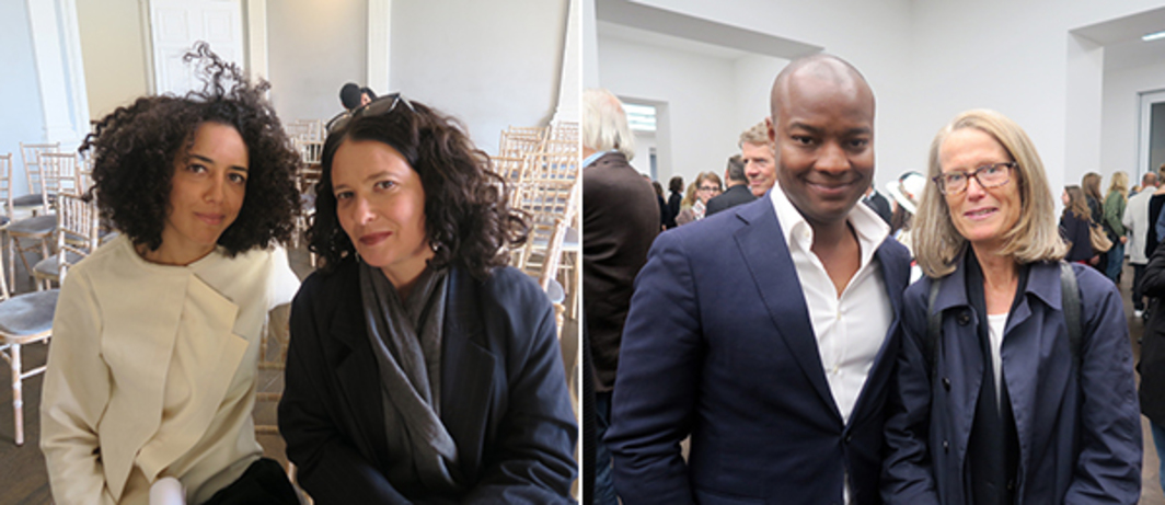 Left: Tandem Works founder Alia Fattouh and Protocinema founder Mari Spirito. Right: Ebs and Metropolitan Museum curator Sheena Wagstaff.