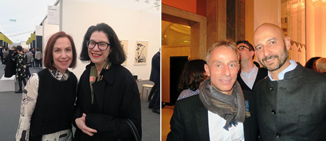 Left: Wexner Center director Sherri Geldin and Art Institute of Chicago deputy director and chief curator Ann Goldstein. Right: Kunsthalle Basel president Martin Hatebur and dealer Marco Frignati.