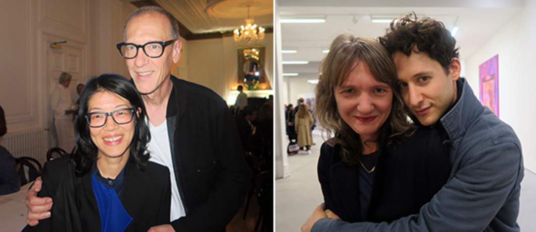 Left: Whitechapel Gallery curator Lydia Yee and artist Christian Marclay. Right: Chisenhale Gallery director Polly Staple and artist Jordan Wolfson.