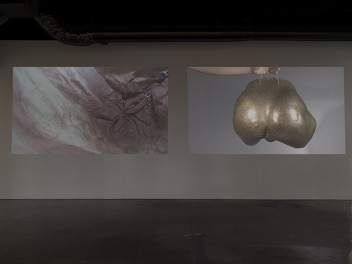 "View of ""Protuberances,"" 2016. From left: Naotaka Hiro, Peaking, 2016; Ass Gong, 2010."