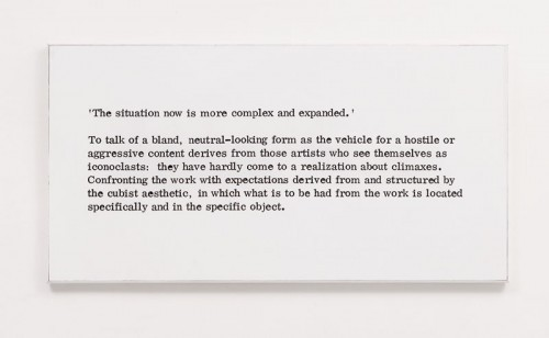 "Art & Language, Paintings I, No. 7, 1966, archival inks printed on Hahnemühle paper mounted on wood, 30 x 59"". From the series ""Paintings I,"" 1966."