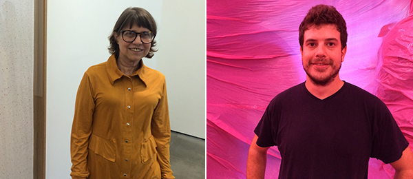 Left: Artist Brígida Baltar at the opening of her solo show at Nara Roesler. Right: Sergi Arbusà inside his installation at the Museu da República.