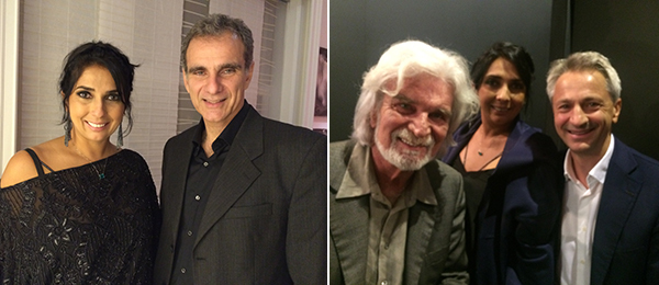 Left: ArtRio founding partner Elisângela Valadares and Leo Jassus at Z42. Right: Inhotim founder Bernardo Paz, ArtRio partner Elisângela Valadares, and Pirelli CEO Paolo dal Pino at ArtRio.