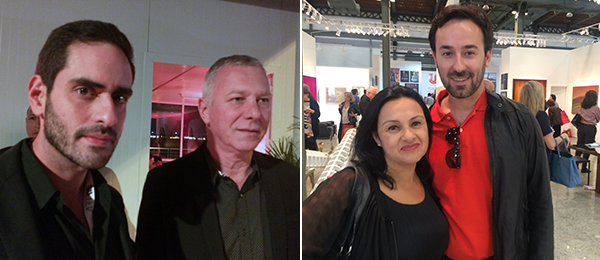 Left: Curators Tereza de Arruda and Danniel Rangel at the opening of ArtRio. Right: Directors of Casa Triângulo gallery Rodrigo Editore and Ricardo Trevisan at ArtRio.