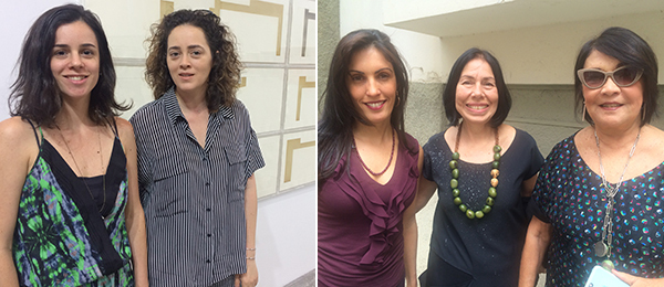 Left: Dealer Nathalia Lavigne and artist Ana Holck at ArtRio. Right: Dealer Myra Babenco, artist Iole de Freitas, and dealer Raquel Arnaud at an opening at Jacaranda.