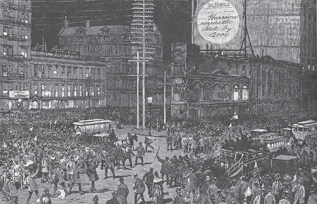Madison Square on election night, New York, November 6, 1888 (Harper's Weekly, November 17, 1888).