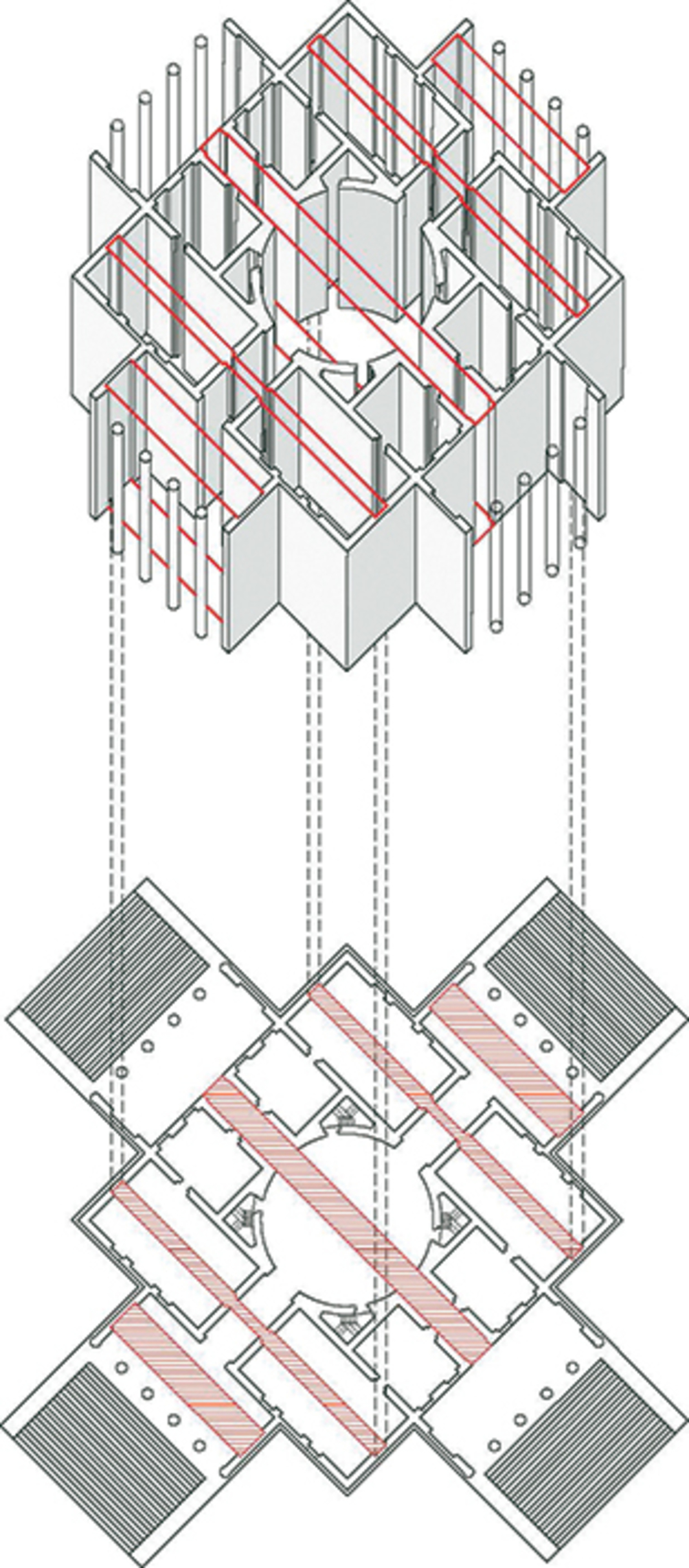 Peter Eisenman and Matt Roman's diagram of Andrea Palladio's Villa Rotonda (1566), 2015.