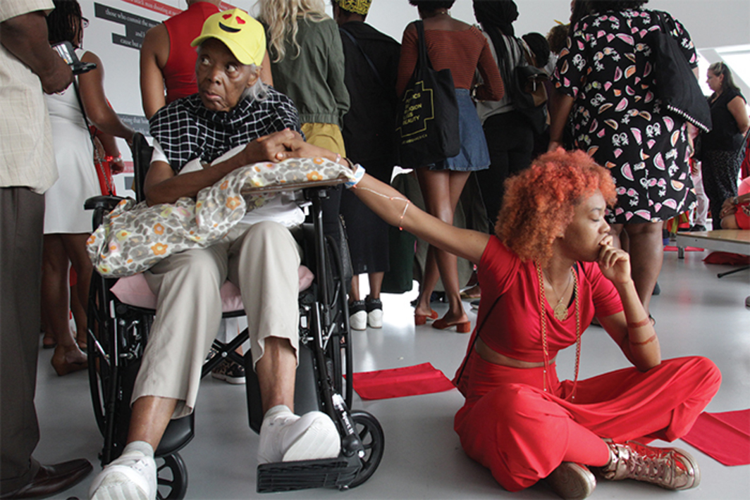 Fatima White and her grandmother, Charlesetta Wicks, with Black Women Artists for Black Lives Matter, New Museum, New York, September 1, 2016. Photo: Madeleine Hunt-Erhlich.