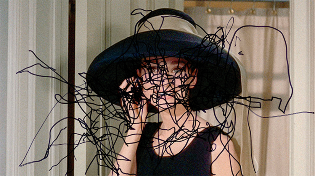 "Pierre Bismuth, Following the Right Hand of Audrey Hepburn in ""Breakfast at Tiffany's"", 2007, marker on Plexiglas over C-print, 32 × 49"". From the series ""Following the Right Hand of,"" 2007–."