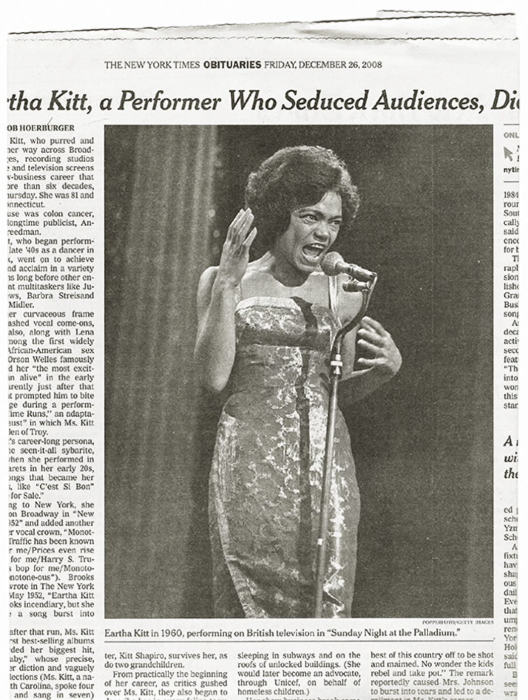 Clipping of Eartha Kitt's obituary in the New York Times, December 26, 2008.