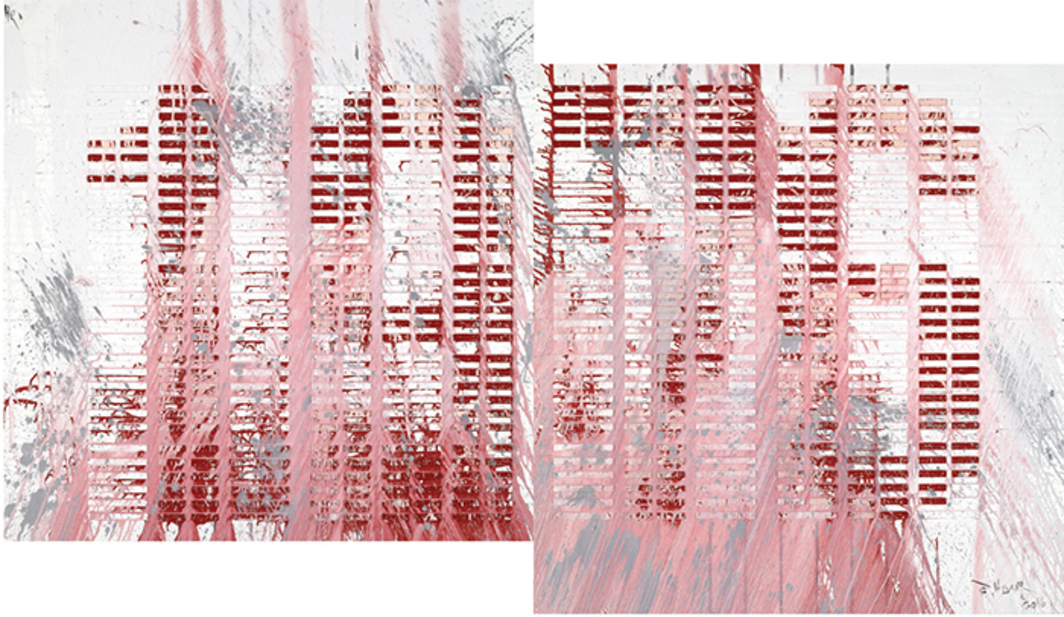 "Huang Rui, 1976, 2016, diptych, oil on canvas, each panel 59 × 59""."