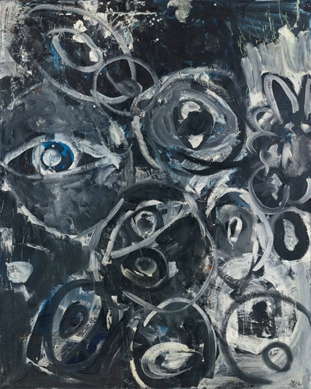 "Ernst Wilhelm Nay, Augen (Eyes), 1963, oil on canvas, 78 3/4 × 63"". From the series ""Augenbilder"" (Eye Paintings), 1963–64."