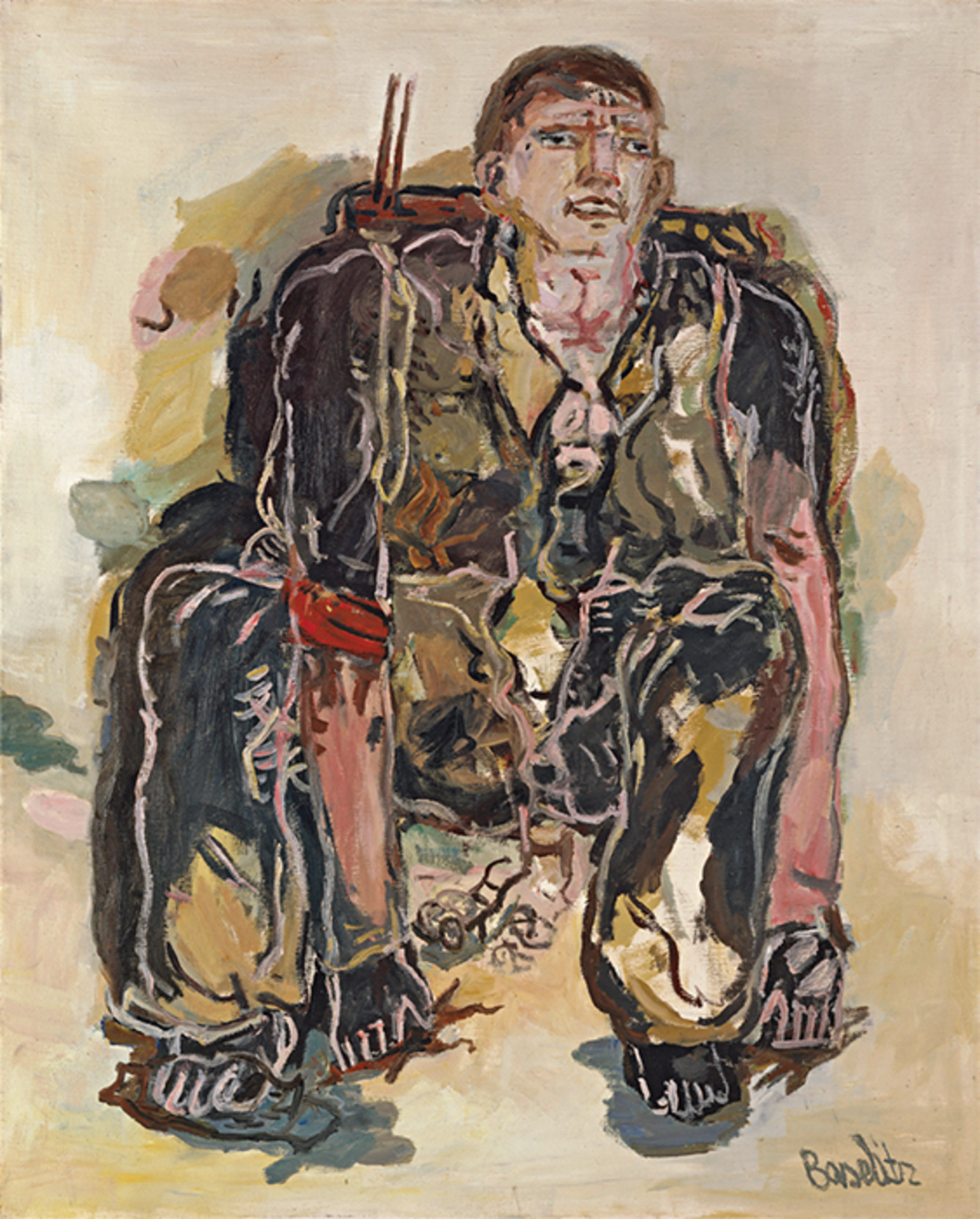 "Georg Baselitz, The Modern Painter, 1965, oil on canvas, 63 3/4 × 51 1/4""."