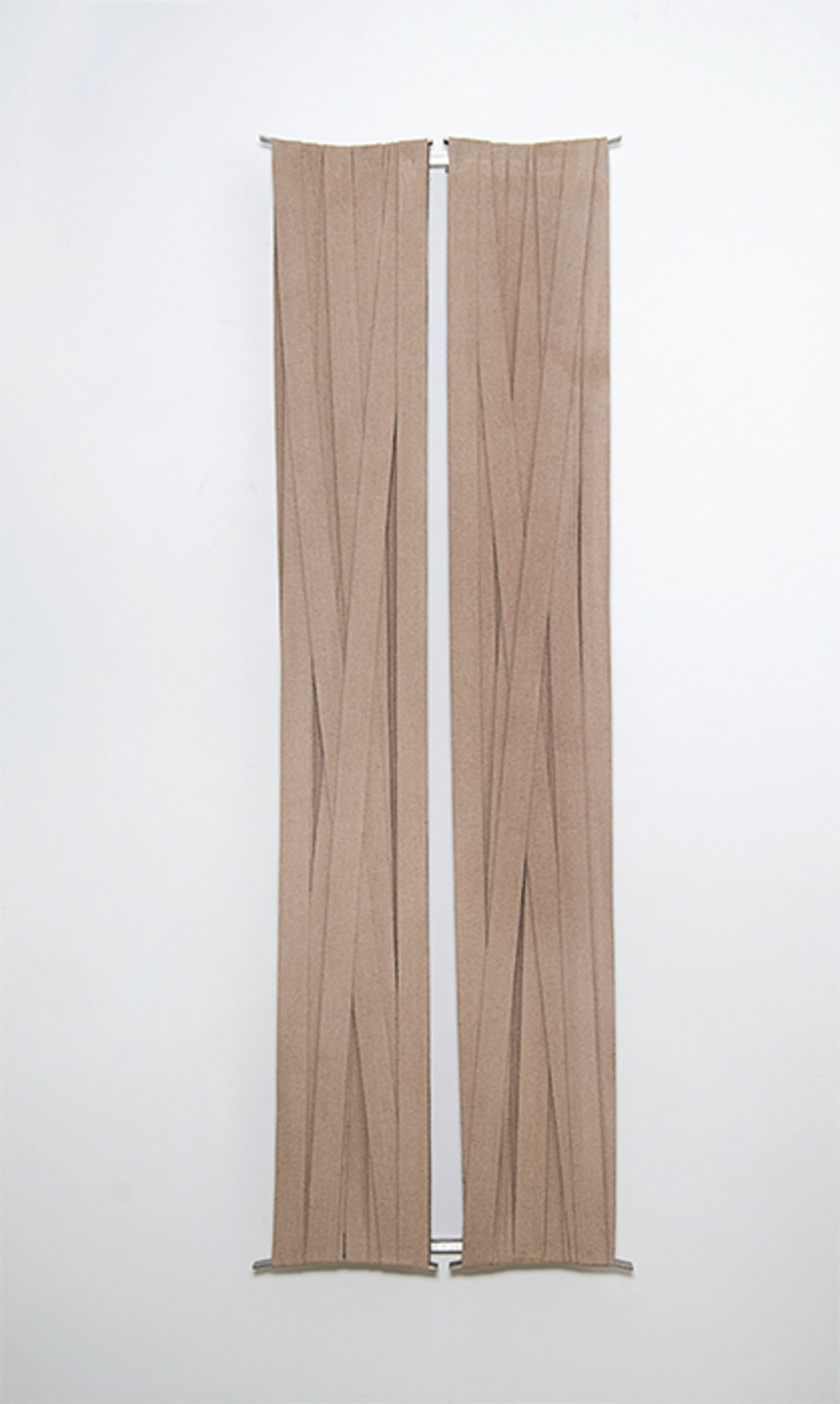 "Paolo Cotani, Tensioni, 1993, polyester bands, steel, 72 1/2 × 23 3/4 × 3 1/2""."