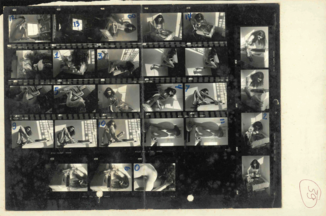 Contact sheet by Afonso Ropperto showing performance of Xerox Action, 1980, by Hudinilson Jr.