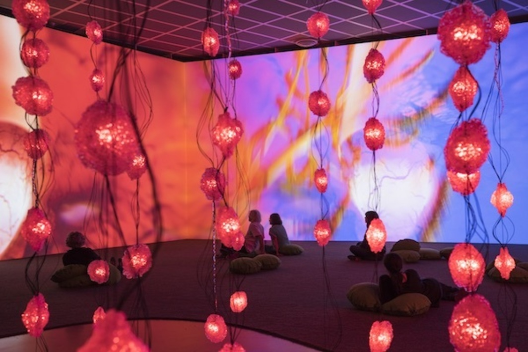 "Pipilotti Rist, Pixelwald (Pixel Forest), 2016, mixed media, dimensions variable. Installation view, ""Pipilotti Rist: Dein Speichel ist mein Taucheranzug im Ozean des Schmerzes"" (Your Saliva Is My Diving Suit in the Ocean of Pain), Kunsthaus Zürich, 2016. Photo: Lena Huber."