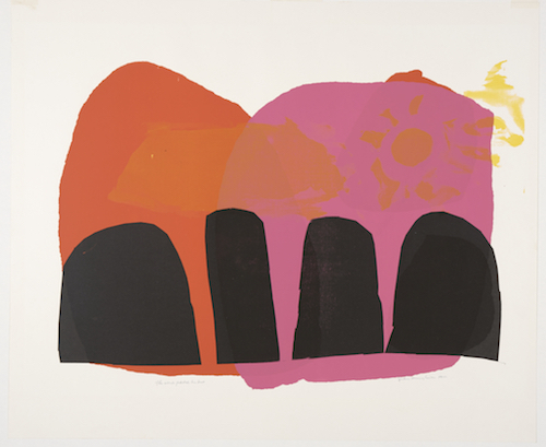 "Corita Kent, The Word Pitched His Tent, 1962, screen print on paper, 26 x 31""."