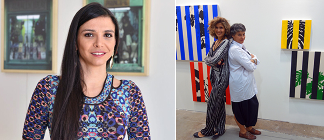 Left: ArtBO director María Paz Gaviria. Right: Instituto de Visión's Maria Wills and Beatriz López with Otto Berchem work at ArtBo. (Except where noted, all photos: Alex Fialho)