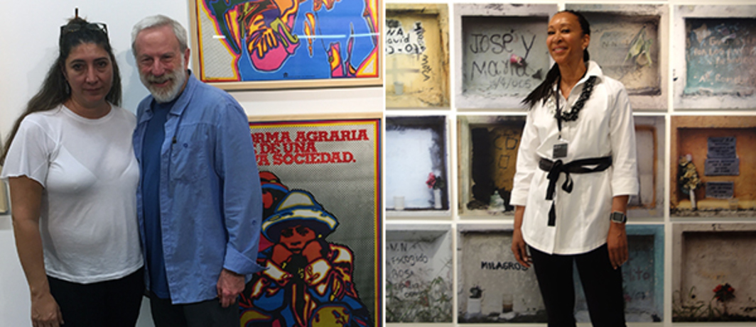 Left: Artist Adriana Arenas and Museum of Latin American Art's Robert Braun with Jesús Ruis Durand work at the Salón. Right: Collector Joy Simmons with Juan Manuel Echavarría's work.