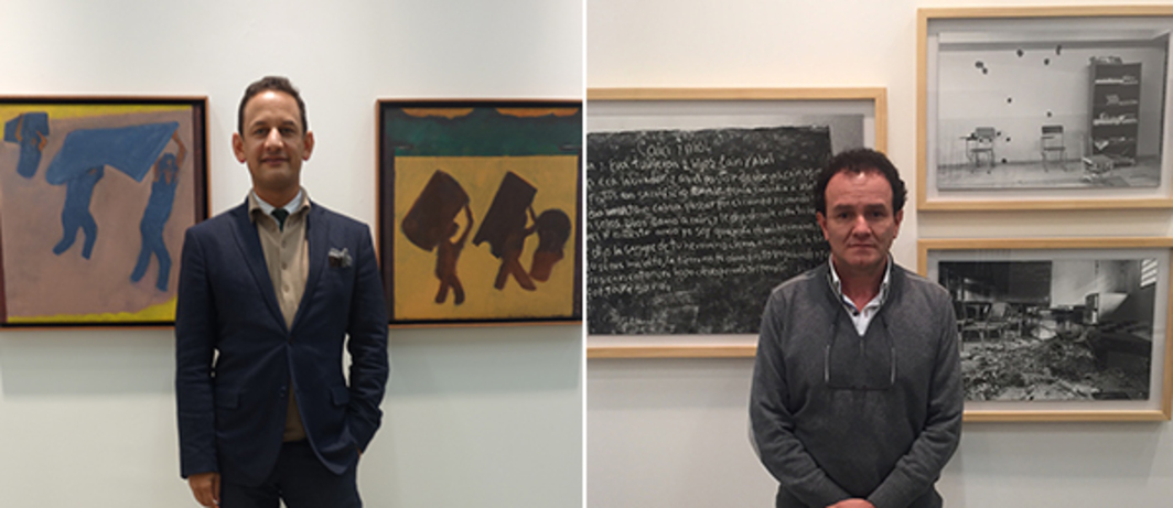 Left: Curator Jens Hoffmann with paintings by Beatriz González in ArtBO's Proyectos section. Right: Jesús Abad Colorado with his photographs at Instituto de Visión's ArtBO booth.