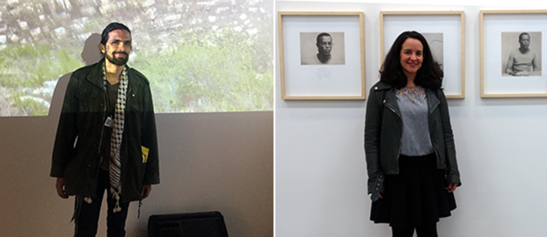 Left: Artist Fernando Domínguez with his work in ArtBO's Arte Camera section. Right: Curator Monica Espinel with Álvaro Barrios' work at ArtBO.