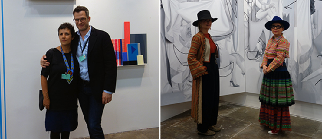 Left: Artist Monika Bravo with her work and dealer Johannes Vogt. Right: Collectors with Fabrizio Abbieta's work at Diablo Rosso booth.
