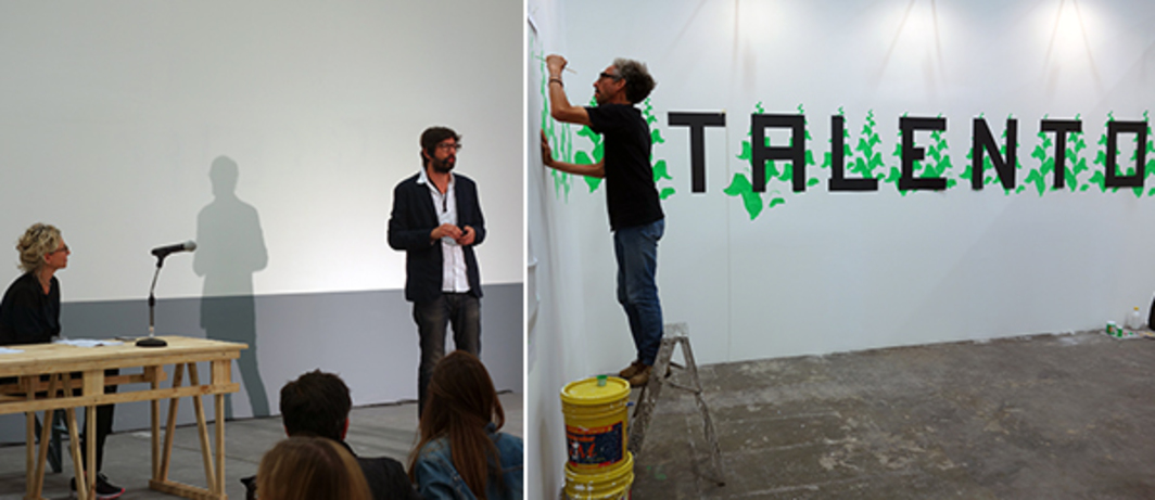 Left: Curator Magali Arriola and artist Mario García Torres, co-curator's of ArtBO's Foro section. Right: Antonio Caro painting in ArtBO'S Referentes section.