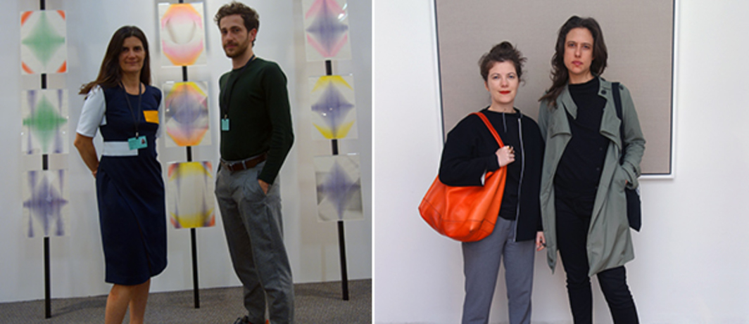 Left: Galleria Fortes Vilaça's Márcia Fortes and Matheus Chiaratti with Cristiano Lenhardt's work at ArtBO. Right: PIVÔ's Fernanda Brenner and artist Paloma Bosquê with Bernardo Ortiz's work at Casa Riegner.