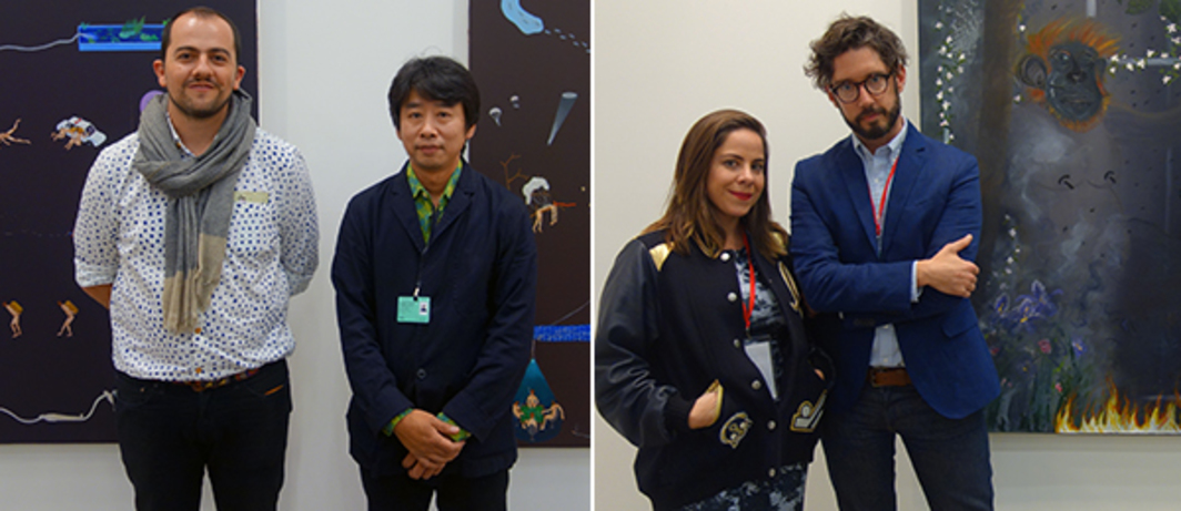 Left: Proyectos Ultravioleta's Stefan Benchoam and artist Akira Ikezoe with his paintings at ArtBO. Right: Yautepec's Daniela Elbahara and Brett Schultz with Morgan Mandalay painting at ArtBo.