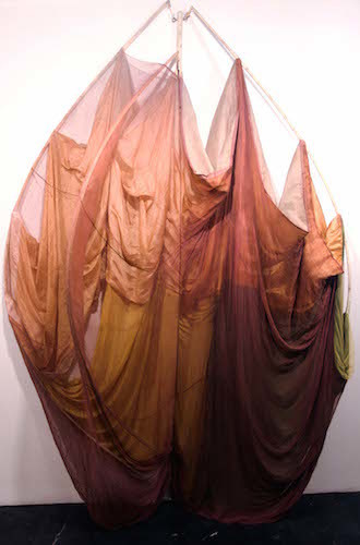 "Rosemary Mayer, The Catherines, 1972–73, fabric, wood, dye, 120 x 72 x 48""."
