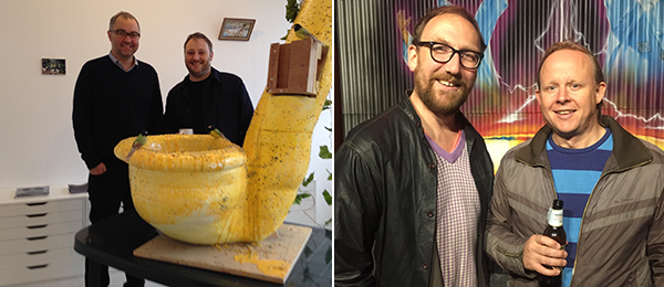 Left: Paul Moss and Miles Thurlow of Workplace Gallery, London & Newcastle. Right: Plymouth Arts Center director Ben Borthwick and artist Mark Gubb.