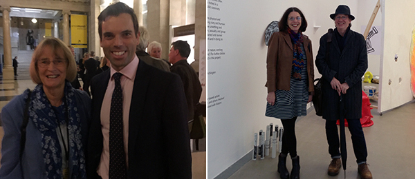 Left: National Museum Wales trustee Carys Howell with Ken Skates, cabinet secretary for Economy and the Arts. Right: Curator Michelle Hirschhorn-Smith and artist Mike Collier, cofounder of WALK Research Centre, Sunderland.