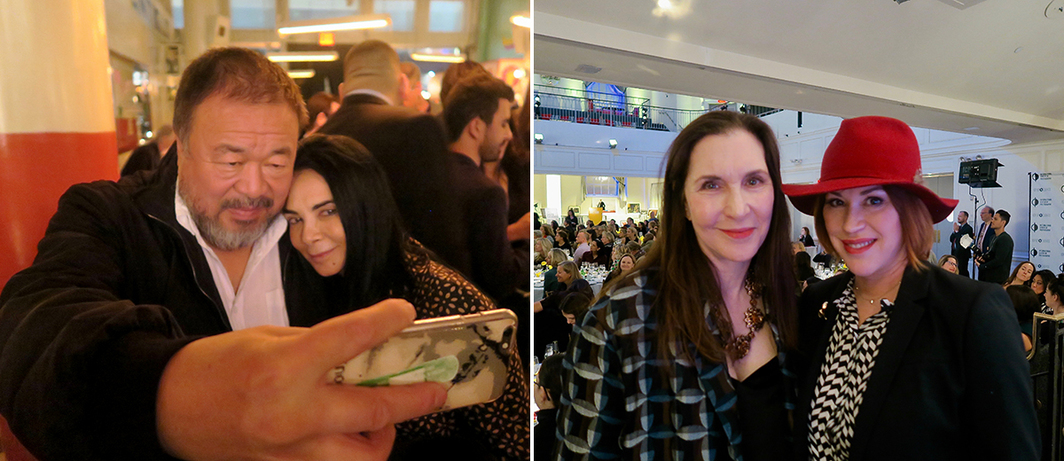 Left: Artist Ai Weiwei with dealer Mary Boone. Right: Artist Laurie Simmons and actress Molly Ringwald. (All photos: Linda Yablonsky)