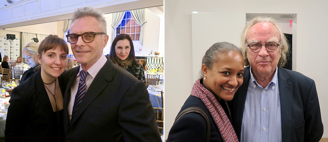 Left: Writer-director-actor Lena Dunham with her parents, artists Carroll Dunham and Laurie Simmons. Right: Michelle Harewood and art historian Benjamin Buchloh.