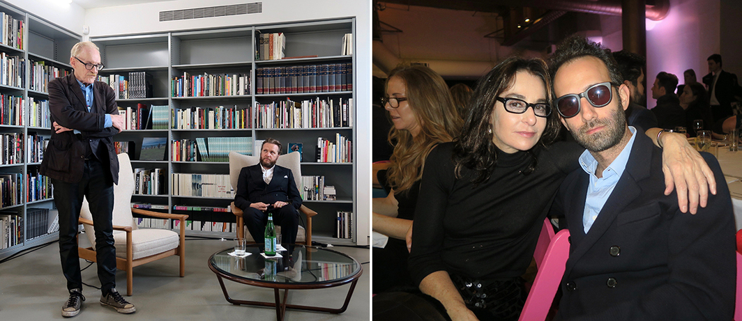 Left: Critic Peter Schjeldahl and artist Ragnar Kjartansson. Right: Jewish Museum director Claudia Gould and artist Alex Israel.
