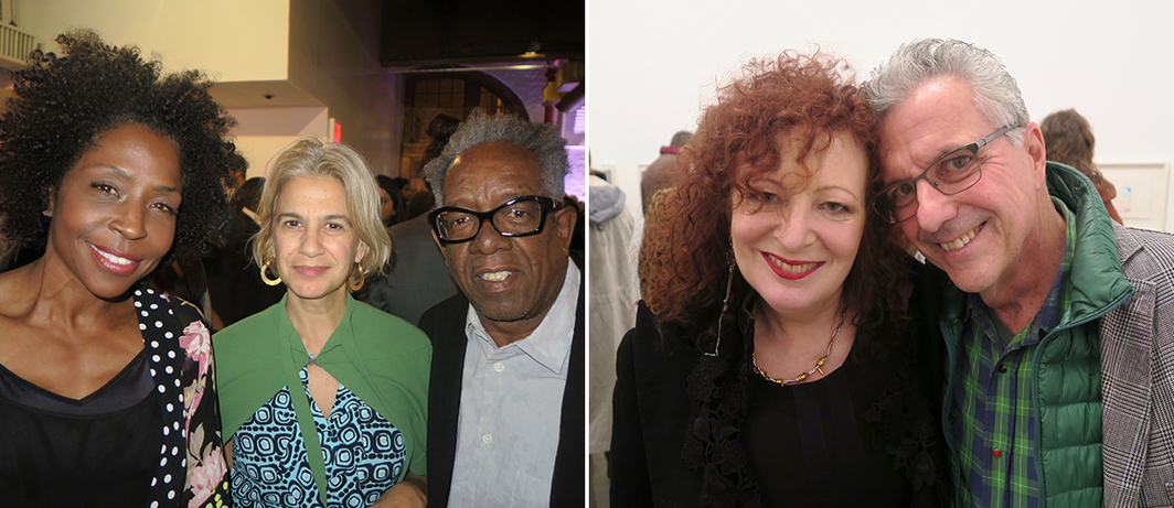 Left: Artists Lorna Simpson, Marina Adams, and Stanley Whitney. Right: Artists Nan Goldin and Billy Sullivan.