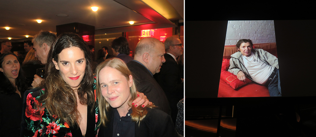 Left: Collector Eleanor Cayre and artist Hanna Liden. Right: Isa Genzken in her video greeting for the Sculpture Center gala.
