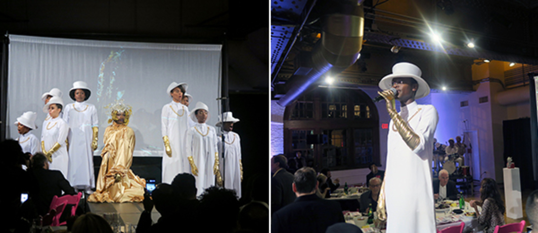 Left: Performance artist Athi-Patra Ruga and his choir at the Performa gala. Right: Musician Vuyo (Vuyolwethu) Sotashe.