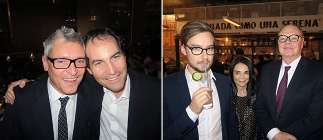 Left: Dealer Daniel Buchholz and collector Sascha Bauer. Right: Dealers Alex Logsdail, Mary Boone and Nicholas Logsdail.