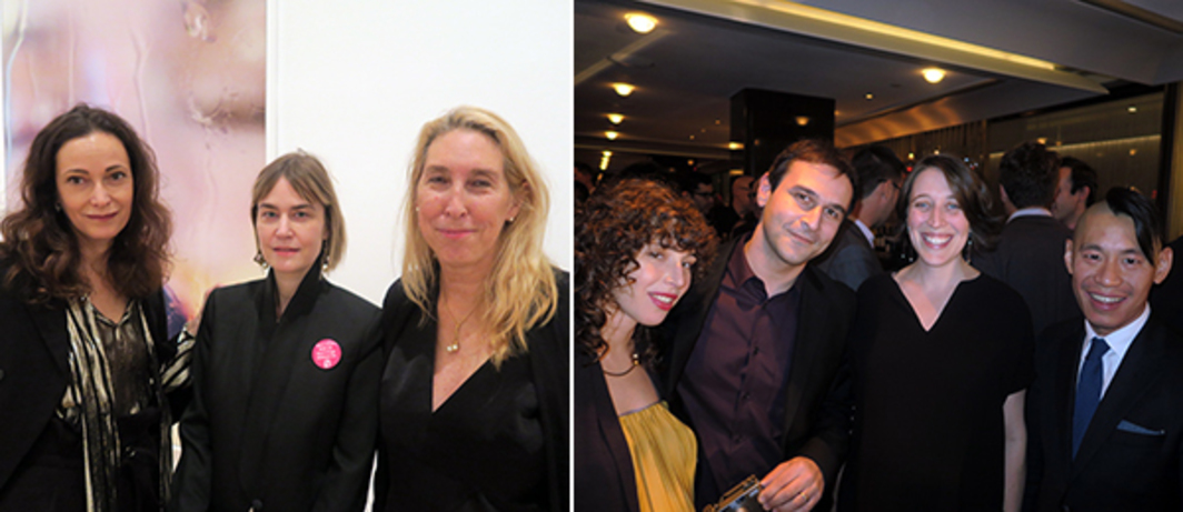 Left: Dealers Jeanne Greenberg Rohaytn and Fabienne Stephan with New Museum director Lisa Phillips. Right: Artists Liz Magic Laser and Sanya Kantarovsky with Whitney Museum curators Elisabeth Sherman and Christopher Lew.