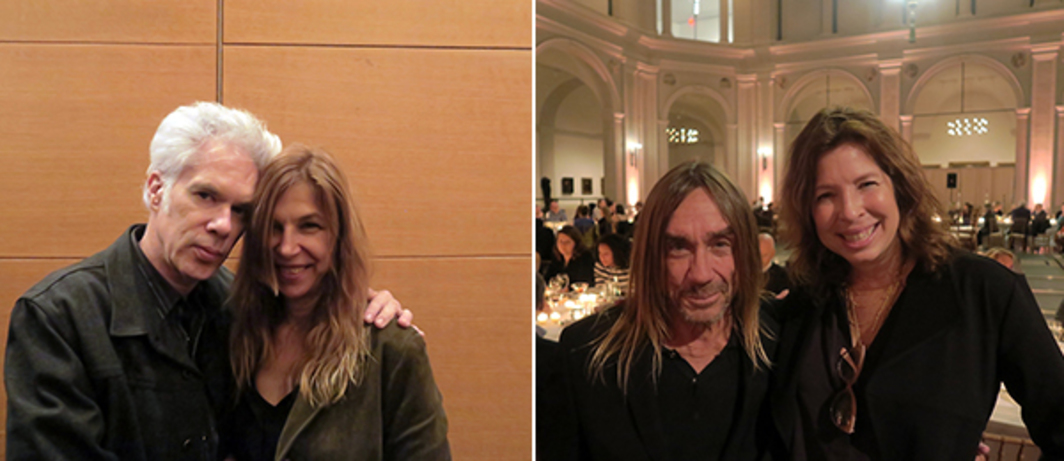 Left: Filmmakers Jim Jarmusch and Sara Driver. Right: Iggy Pop with Brooklyn Museum director Anne Pasternak.