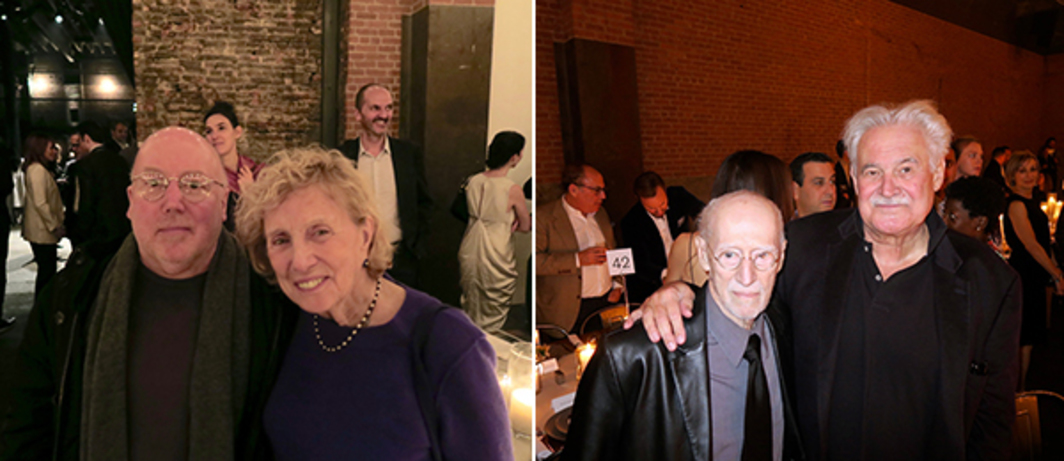 Left: Artists Christopher Williams and Dorothea Rockburne. Right: Artists Robert Morris and Keith Sonnier.